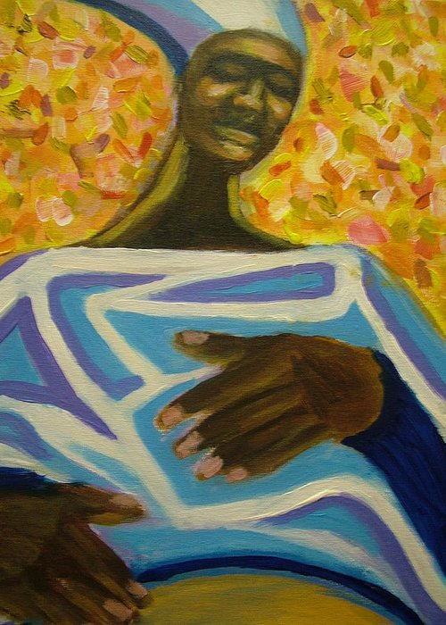 Painting Greeting Card featuring the painting Bongo Man II by Jan Gilmore