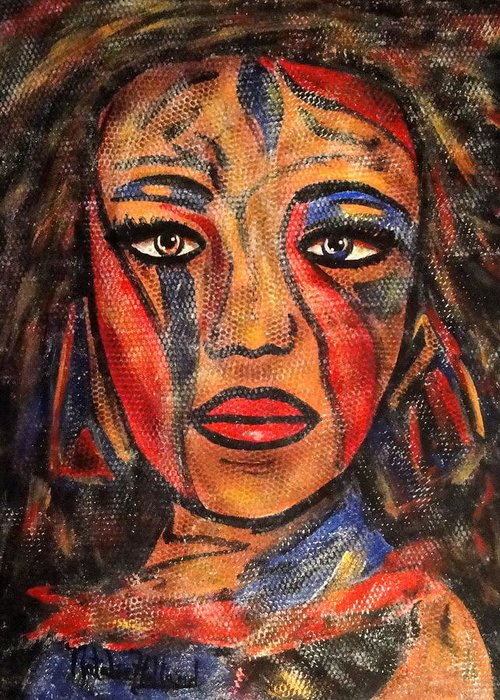 Woman Greeting Card featuring the painting Bonita by Natalie Holland