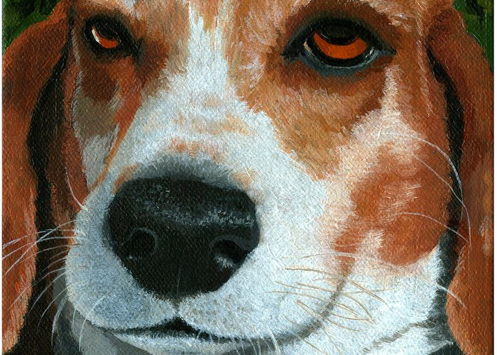Dog Art Greeting Card featuring the painting Bonnie - Beagle Painting by Linda Apple