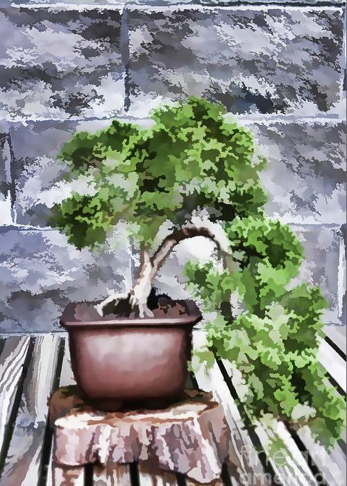 Nature Greeting Card featuring the painting Bonsai by Jeelan Clark