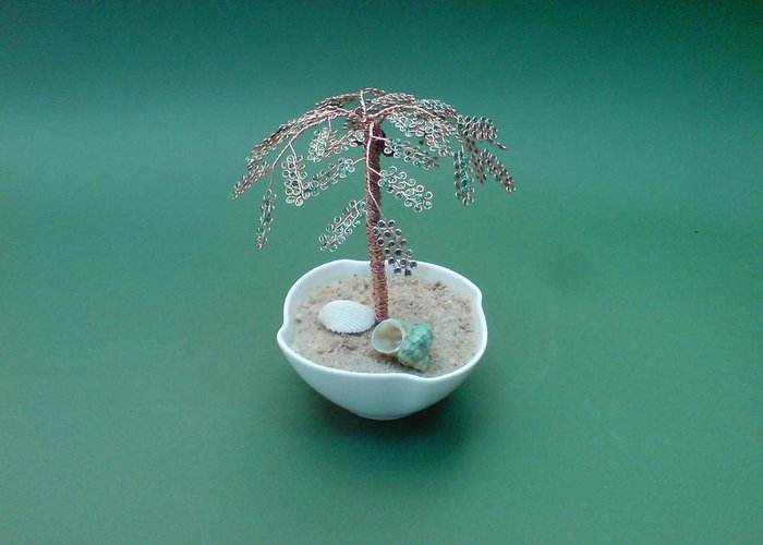 Bonsai Greeting Card featuring the sculpture Bonsai Wire Tree Sculpture   by Bujas Sinisa