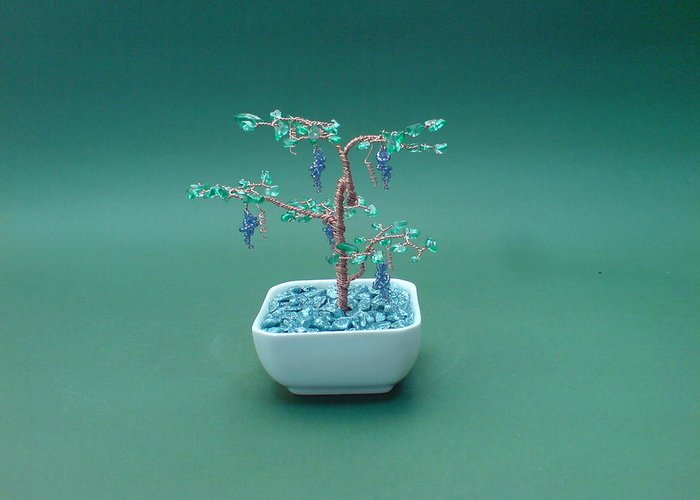 Bonsai Greeting Card featuring the sculpture Bonsai Wire Tree Sculpture Beaded Grape Gems   by Bujas Sinisa