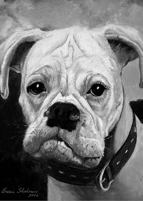 Boxer Greeting Card featuring the painting Boo the Boxer by Portraits By NC