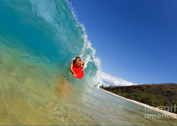 Action Greeting Card featuring the photograph Boogie Boarding At Makena by MakenaStockMedia - Printscapes