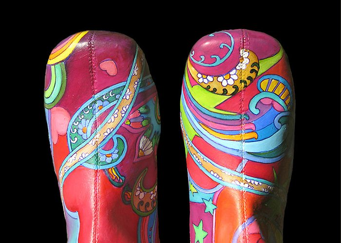 Boogie Shoes Greeting Card featuring the painting Boogie Shoes 2 by Mary Johnson