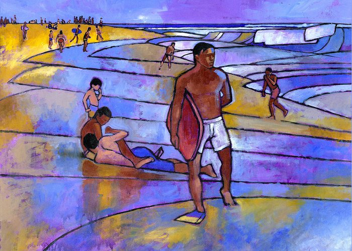 Boogie Board Greeting Card featuring the painting Boogieboarding At Sandy's by Douglas Simonson