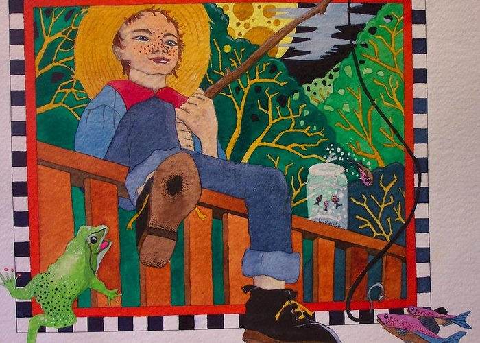 Children Greeting Card featuring the painting book illustration - Tom Sawyer by Victoria Heryet