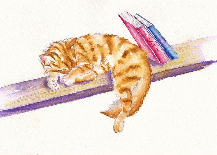 Tabby Greeting Card featuring the painting Bookend by Debra Hall