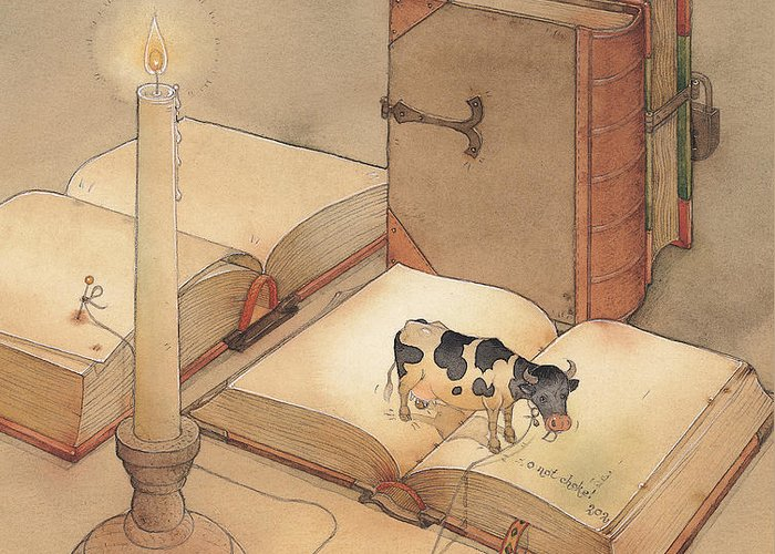 Science Books Cow Candle Reading Greeting Card featuring the painting Bookish Cow by Kestutis Kasparavicius
