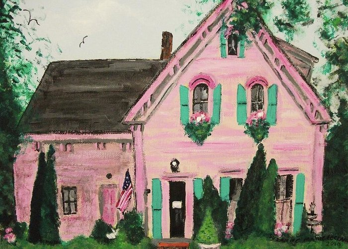 Bookstore Greeting Card featuring the painting Bookstore In Cape Cod by Suzanne Marie Leclair