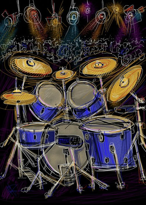 Drums Greeting Card featuring the digital art Boom Crash by Russell Pierce