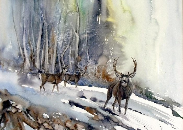 Mule Deer Greeting Card featuring the painting Boone And Crockett by Lynne Parker