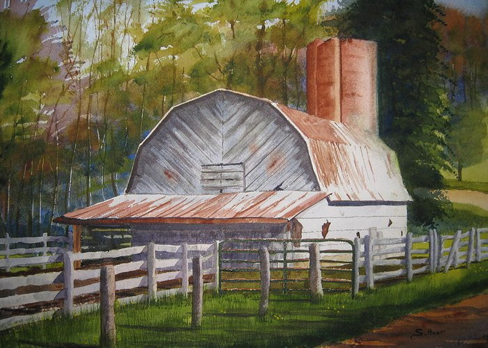Boone Greeting Card featuring the painting Boone Barn by Shirley Braithwaite Hunt