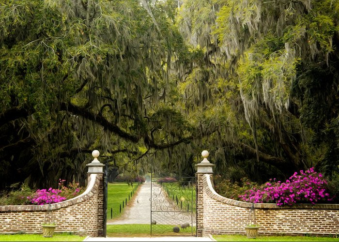 Mt. Pleasant Greeting Card featuring the photograph Boone Hall Plantation by Eggers Photography