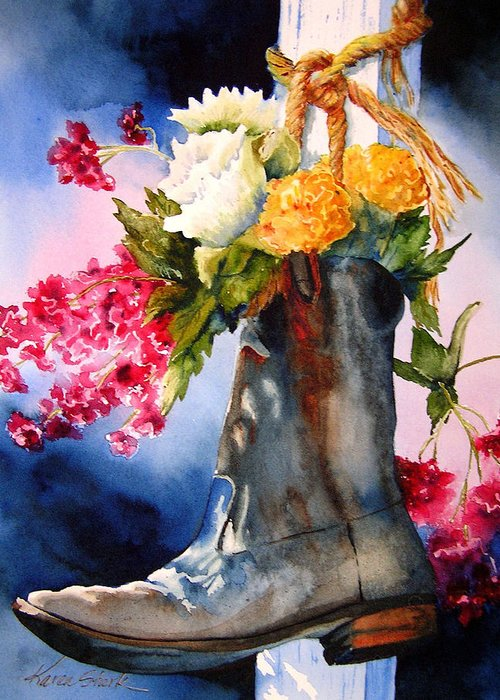 Cowboy Greeting Card featuring the painting Boot Bouquet by Karen Stark