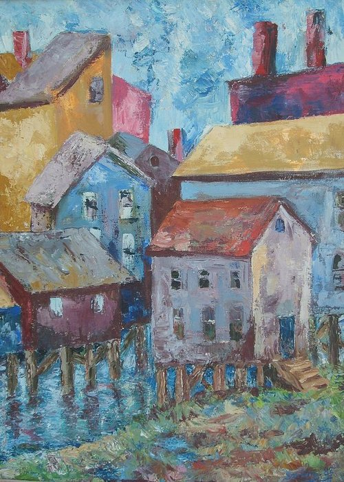 Landscape Greeting Card featuring the painting Boothby Harbor Tl Wy by Joseph Sandora Jr