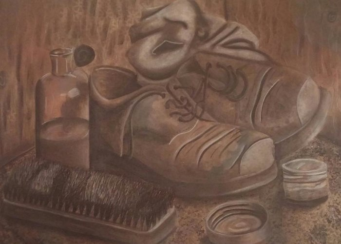 Mixed Media Still Life Boots Greeting Card featuring the drawing Boots by Alexius Brown
