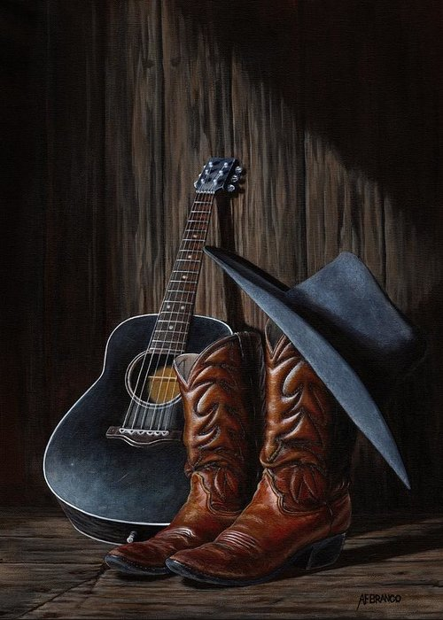 Cowboy Greeting Card featuring the painting Boots by Antonio F Branco