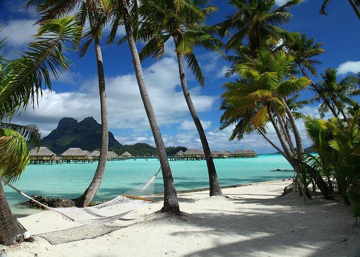 Beach Greeting Card featuring the photograph Bora Bora Beach Hammock by Owen Ashurst