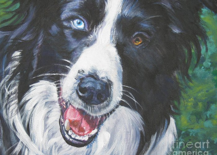 Border Collie Greeting Card featuring the painting Border Collie by Lee Ann Shepard