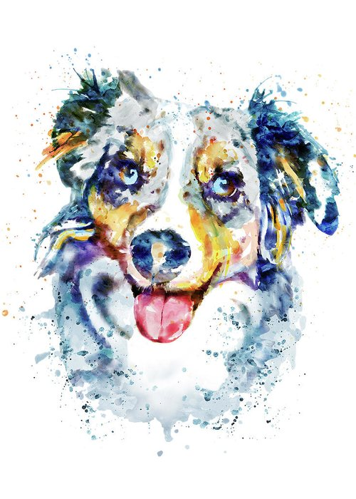 Collie Mixed Media Greeting Cards