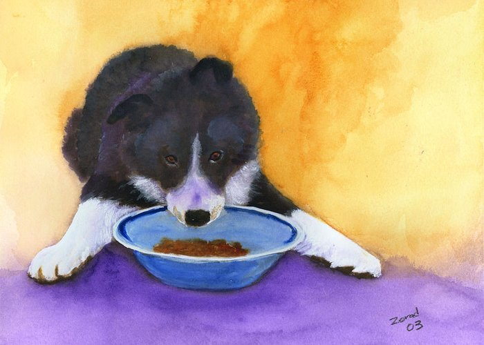 Dog Greeting Card featuring the painting Border Collie Puppy by Mary Jo Zorad