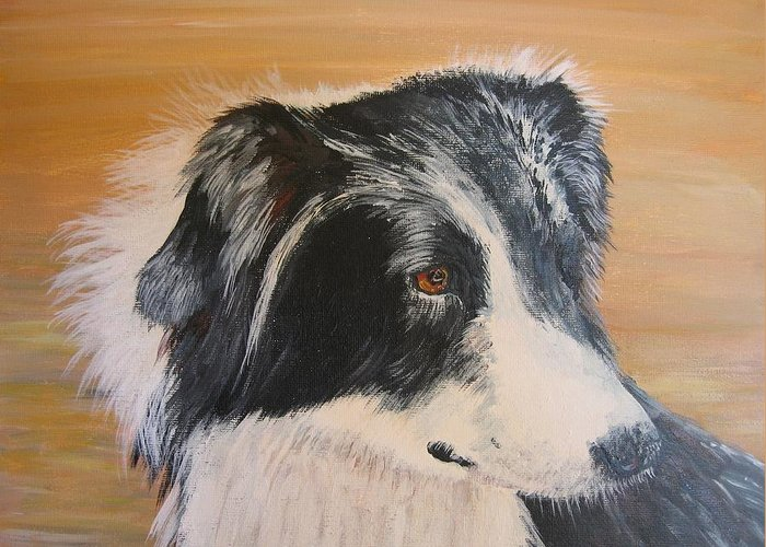 Dog Greeting Card featuring the painting Border Collie Study by Leonie Bell