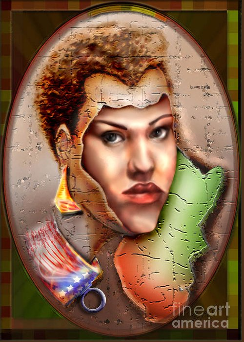 Woman Face Greeting Card featuring the painting Borne A Nation by Reggie Duffie