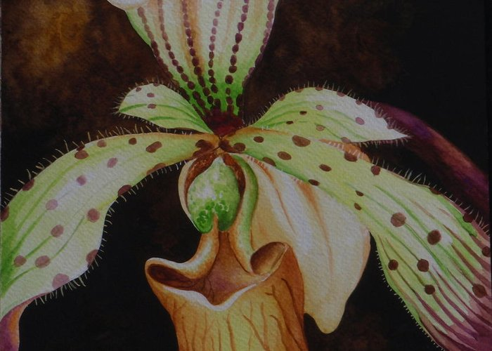 Orchid Greeting Card featuring the painting Borneo Orchid P Lebaudyanum by Edoen Kang