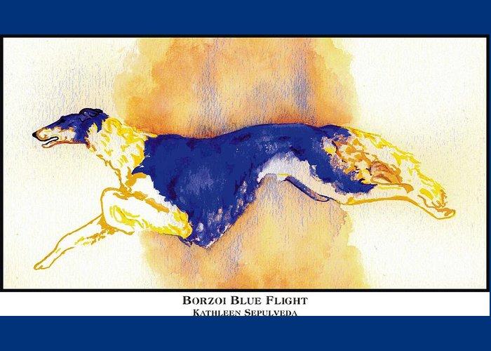 Borzoi Greeting Card featuring the digital art Borzoi Blue Flight by Kathleen Sepulveda