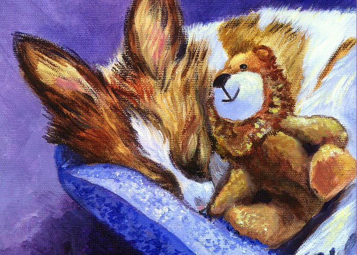 Papillon Dog Greeting Card featuring the painting Bos And The Lion - Papillon by Lyn Cook
