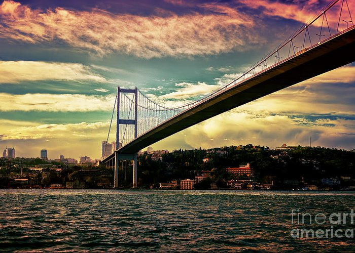 Marmara Greeting Card featuring the photograph Bosphorous Bridge by Nilay Tailor
