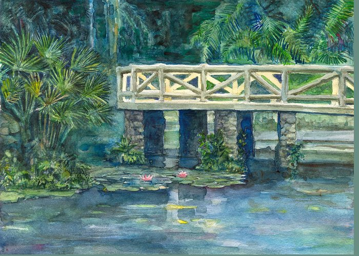 Watercolor Landscape Paper Canson Belem Brazil Greeting Card featuring the painting Bosque Rodrigues Alves by Nelson Caramico
