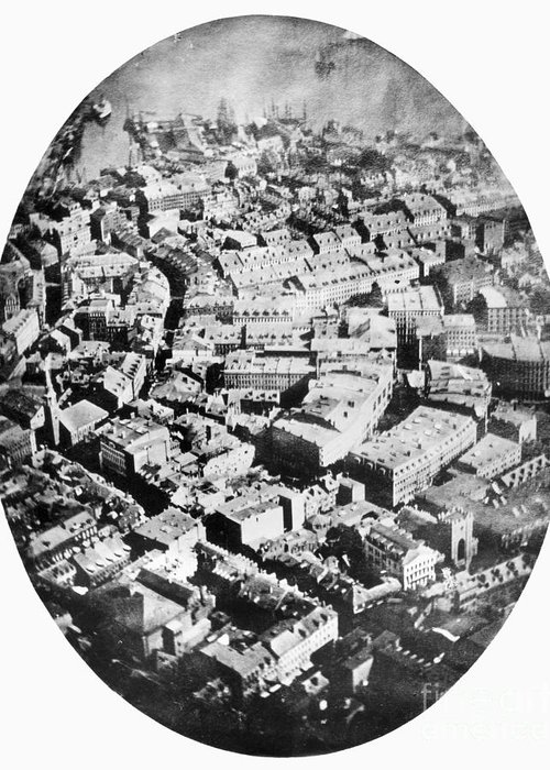 1860 Greeting Card featuring the photograph Boston 1860 by Granger