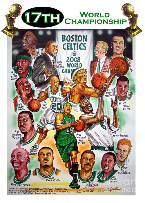 Nba Greeting Card featuring the painting Boston Celtics World Championship Newspaper Poster by Dave Olsen