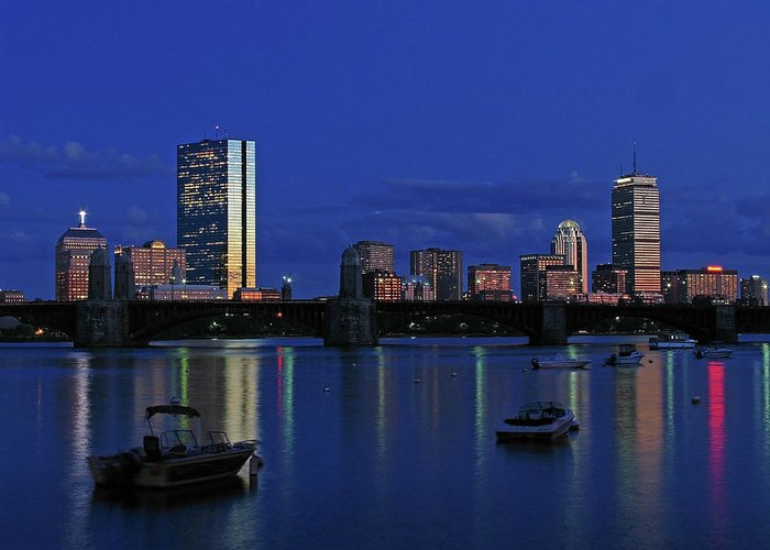 Boston Skyline Greeting Card featuring the photograph Boston City Lights by Juergen Roth