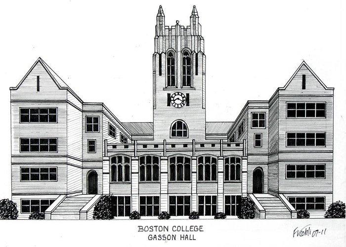 Boston College Drawing Greeting Card featuring the drawing Boston College by Frederic Kohli