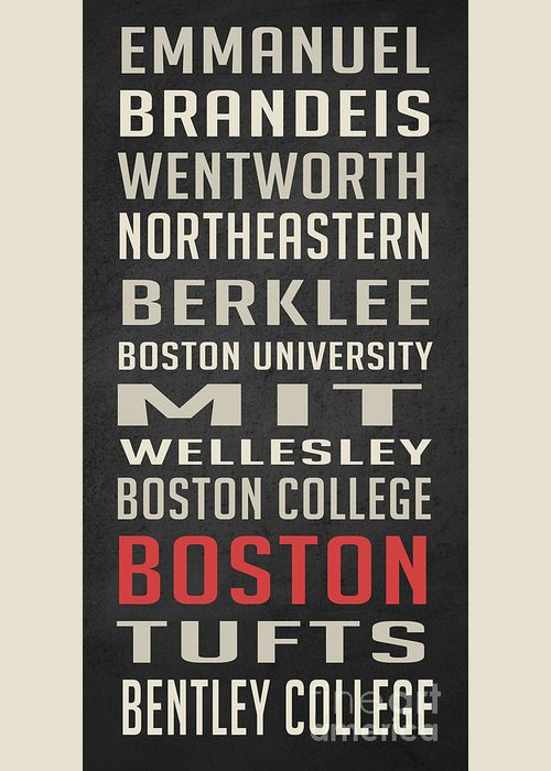 Bentley University Greeting Card featuring the digital art Boston Collegetown by Edward Fielding