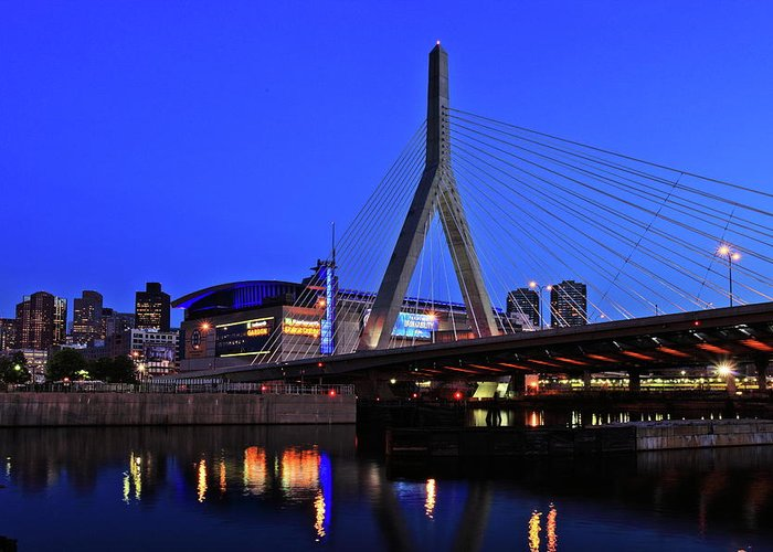 Boston Greeting Card featuring the photograph Boston Garden And Zakim Bridge by Rick Berk