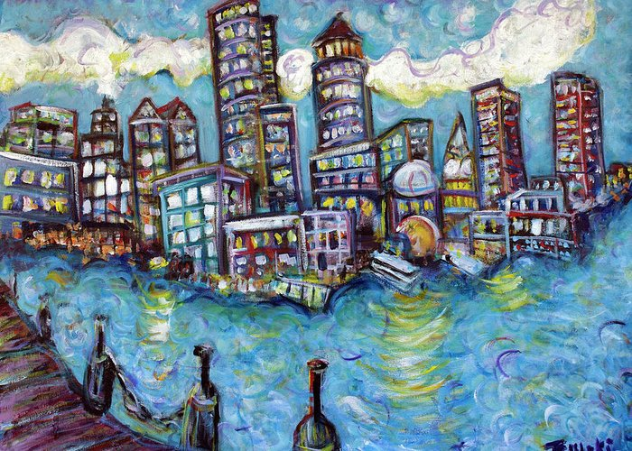 Boston Greeting Card featuring the painting Boston Harbor by Jason Gluskin