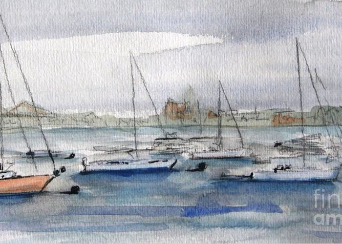 Boats Greeting Card featuring the painting Boston Harbor by Julie Lueders