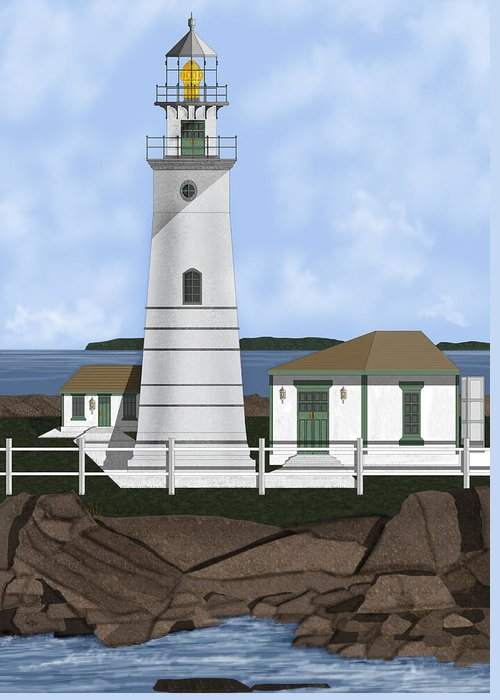 Lighthouse Greeting Card featuring the painting Boston Harbor Lighthouse On Brewster Island by Anne Norskog