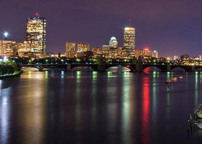 Boston Greeting Card featuring the photograph Boston Harbor Nights-panorama by Joann Vitali