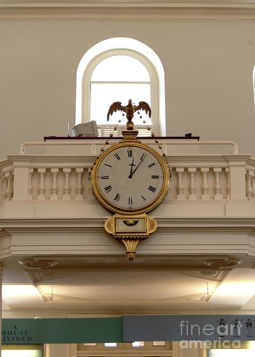 Boston Greeting Card featuring the photograph Boston Historical Meeting Room Clock by Michelle Himes