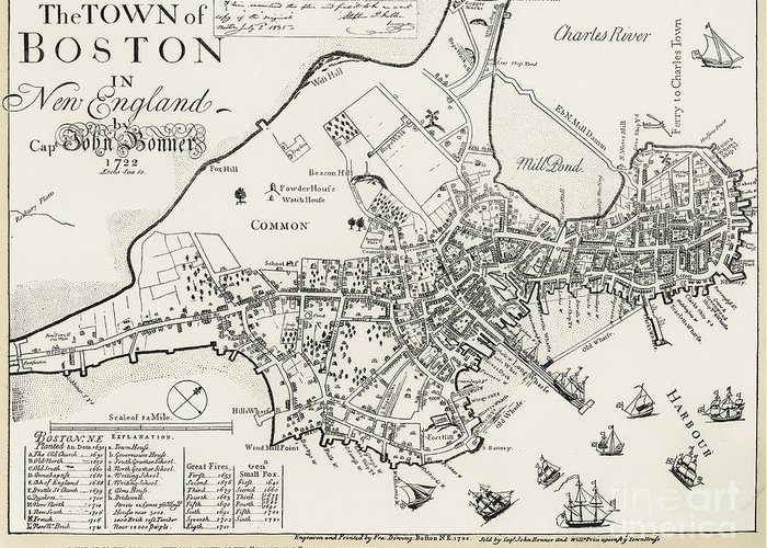 1722 Greeting Card featuring the photograph Boston Map, 1722 by Granger