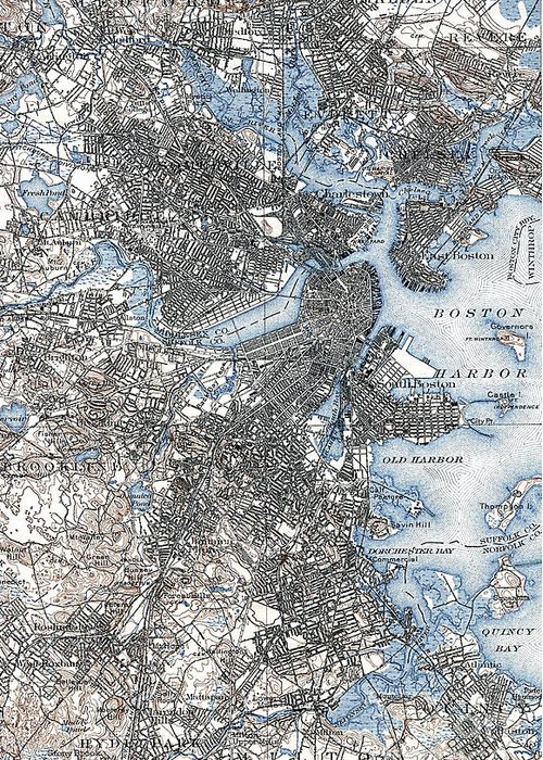 1903 Greeting Card featuring the photograph Boston Map, 1903 by Granger