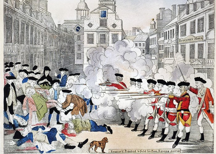 1770 Greeting Card featuring the photograph Boston Massacre, 1770 by Granger