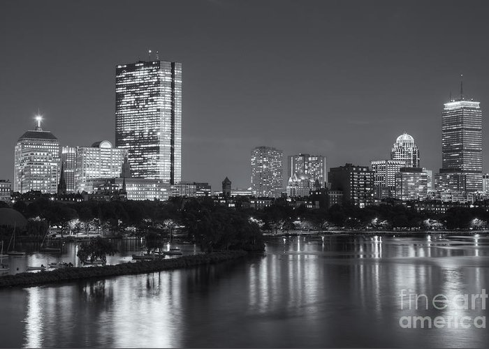 Clarence Holmes Greeting Card featuring the photograph Boston Night Skyline V by Clarence Holmes