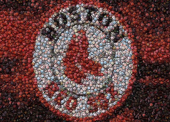 Boston Greeting Card featuring the digital art Boston Red Sox Bottle Cap Mosaic by Paul Van Scott