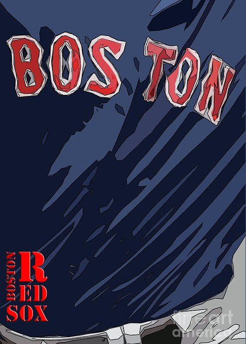 Boston Greeting Card featuring the painting Boston Red Sox Typography Blue by Drawspots Illustrations